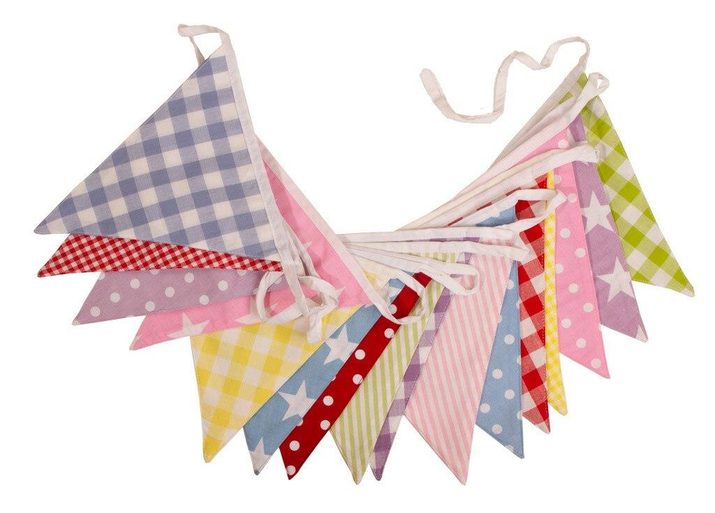 100% Cotton Bunting - Neapolitan - 10m/33 Double Sided Flags - The Cotton Bunting Company