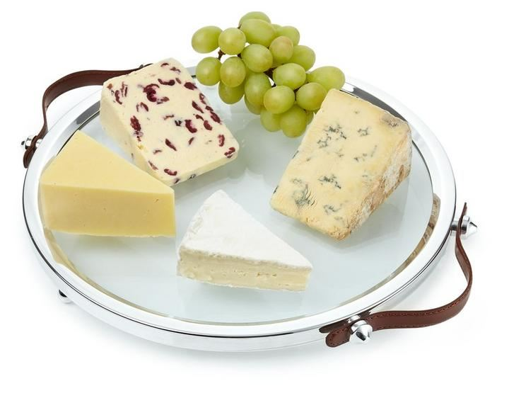 Roberts & Dore - Silver Plated Leather Handled Tuscan Cheese Plate - Gift Boxed