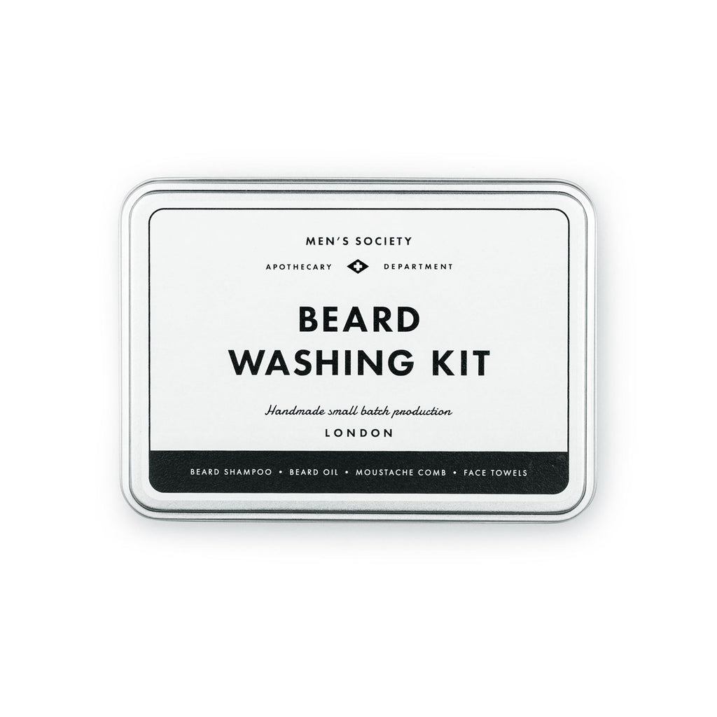 Men's Society - Beard Washing Kit- Beard Shampoo/Beard Oil/Comb/Face Towels