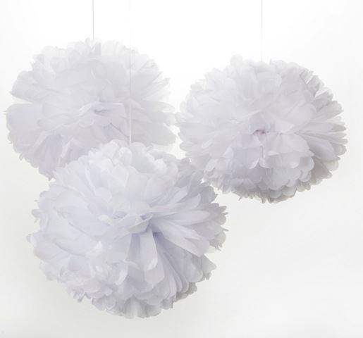 Large Colourful Pom Poms - Set of 3 - White - Engelpunt/Life's A Party