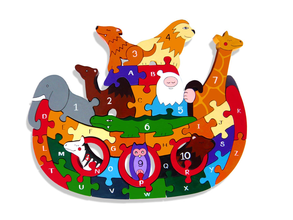 Alphabet Jigsaws - Wooden ABC/Numbers Puzzle - Noah's Ark - Chunky & Bright - 31x25cms