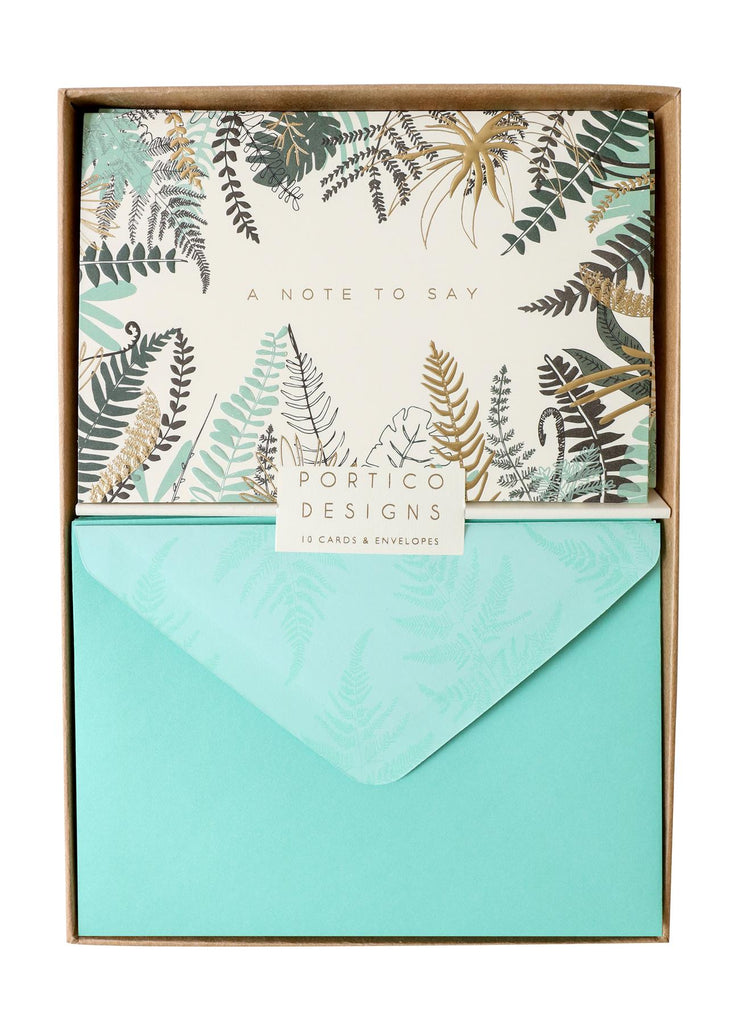 Ferns Notecard Set - 10 Blank Note Cards & Matching Envelopes - Portico Designs