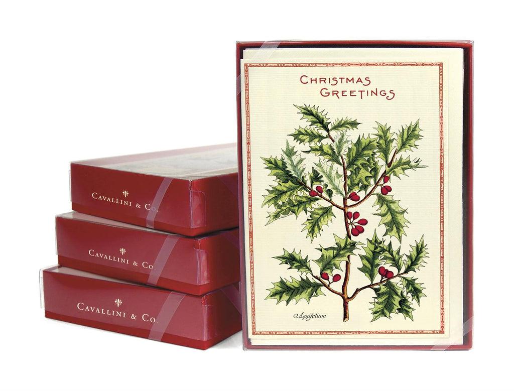Cavallini - 10 x Christmas Greetings Cards/Notes - Christmas Holly