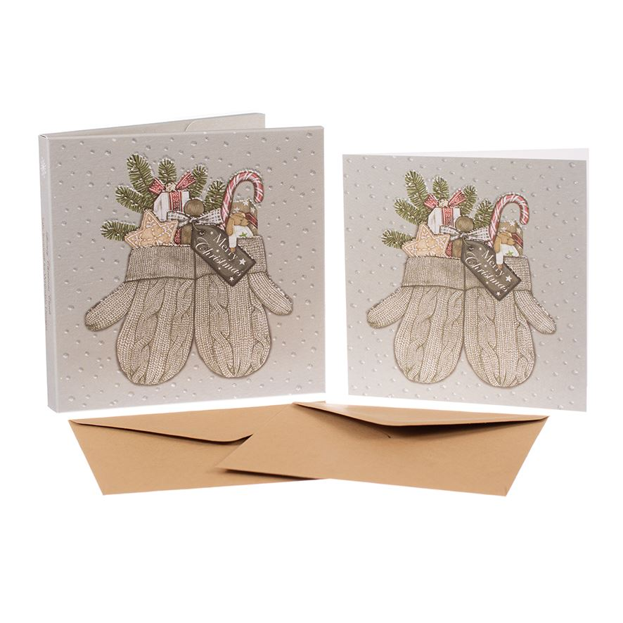 Mittens - Christmas Card Box Set - 8 Luxury Cards & Envelopes - Sally Swannell
