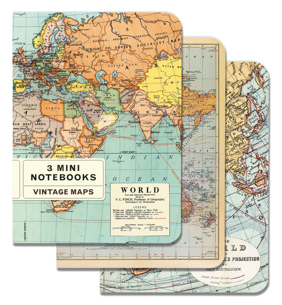 Cavallini - Set of 3 Mini Notebooks - Vintage World Maps