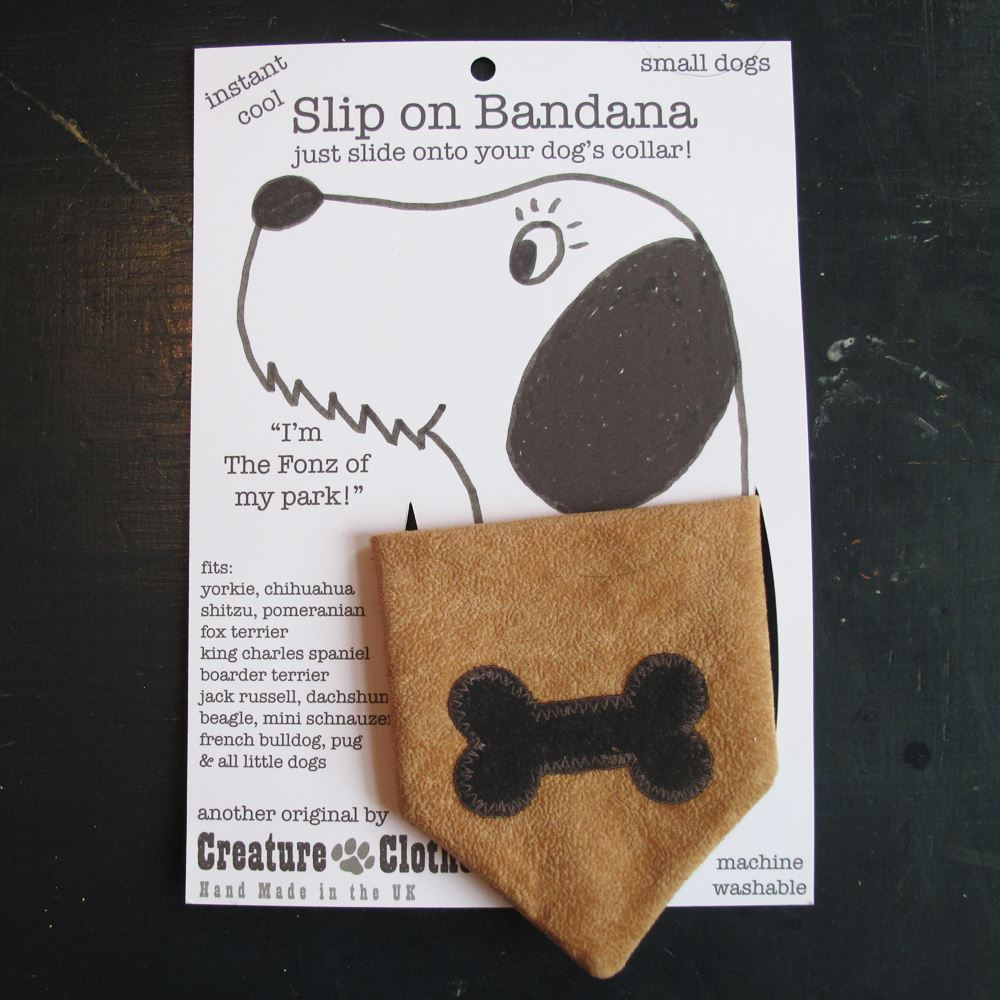 Creature Clothes - Slip on Bandana - Brown Bone on Tan - Available in 2 Sizes - Handmade in the UK