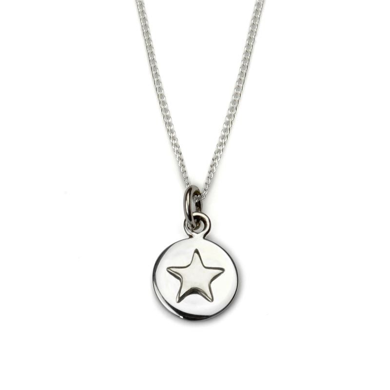 Sterling Silver - Good Luck Circle Necklace - Silver Star - Tales From The Earth