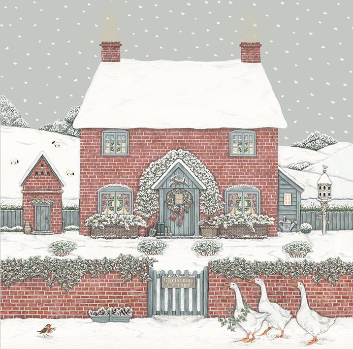 Christmas Cottage - Christmas Card Box Set - 8 Luxury Cards & Envelopes - Sally Swannell