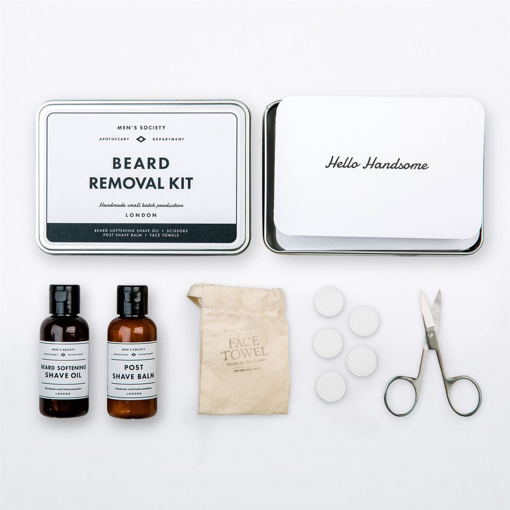Men's Society - Beard Removal Kit- Shave Balm/Scissors/Face Towels/Shave Oil