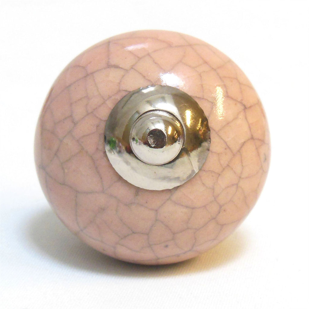 Ceramic Cupboard/Drawer Door Knob - Pink Crackled Effect (P24)