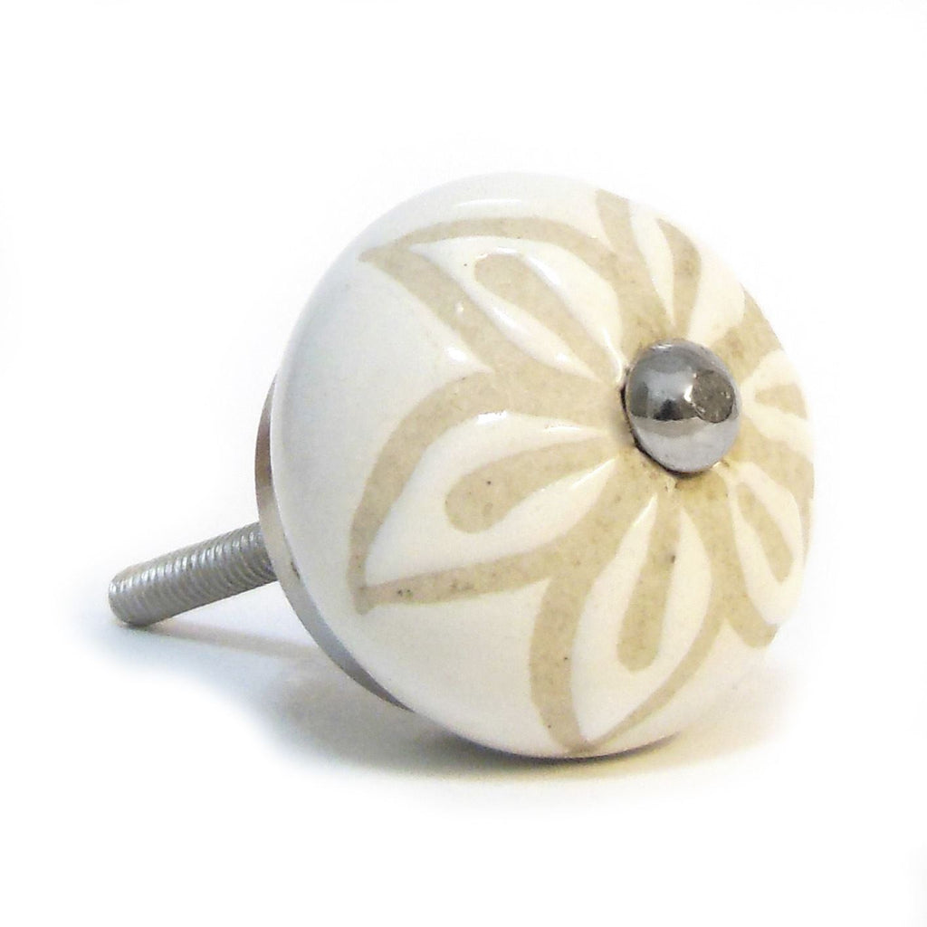 Ceramic Cupboard/Drawer Door Knob - Leaf Flower Design - White & Cream