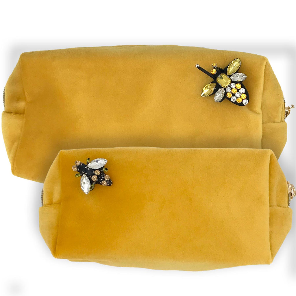 Amber Velvet Make-Up Bag & Bumblebee Pin - Sixton London - Small or Large