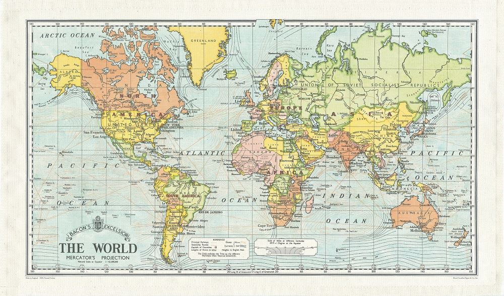 Cavallini - 100% Natural Cotton Vintage Tea Towel - 80 x 47cms - World Map