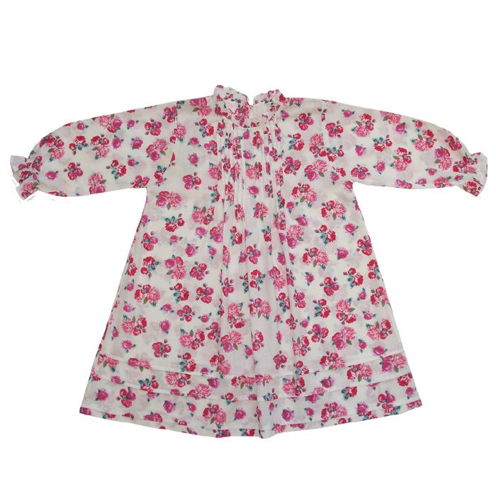 100% Cotton Longsleeve Nightdress - Powell Craft - Rosa - 2-3 years