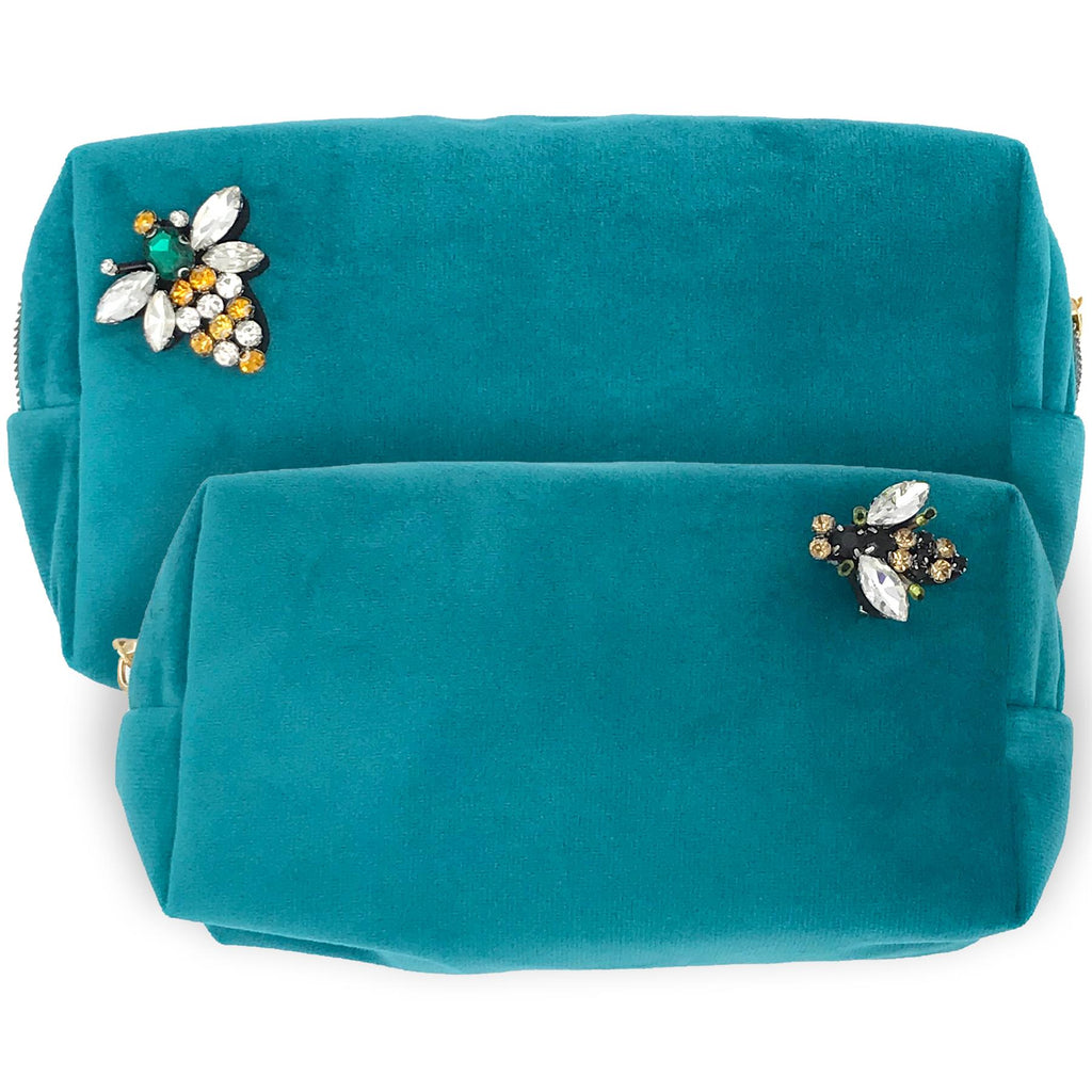 Turquoise Velvet Make-Up Bag & Bumblebee Pin - Sixton London - Small or Large
