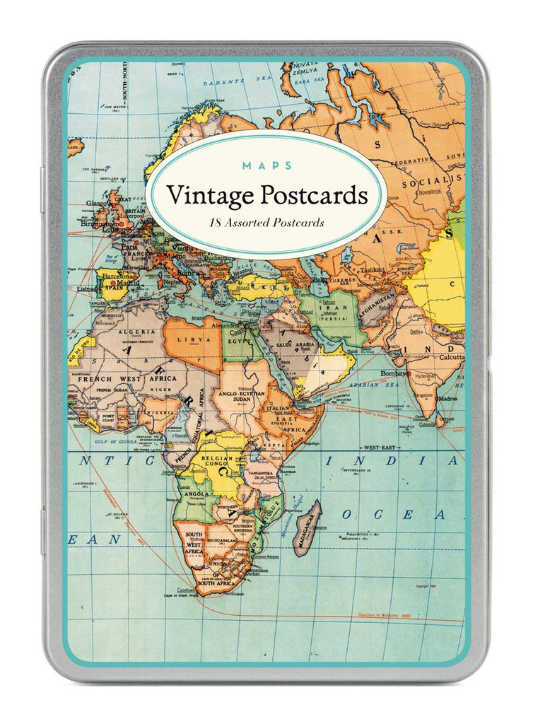 Cavallini - Carte Postale - Vintage Maps - Tin of 18 Postcards - 9 Designs