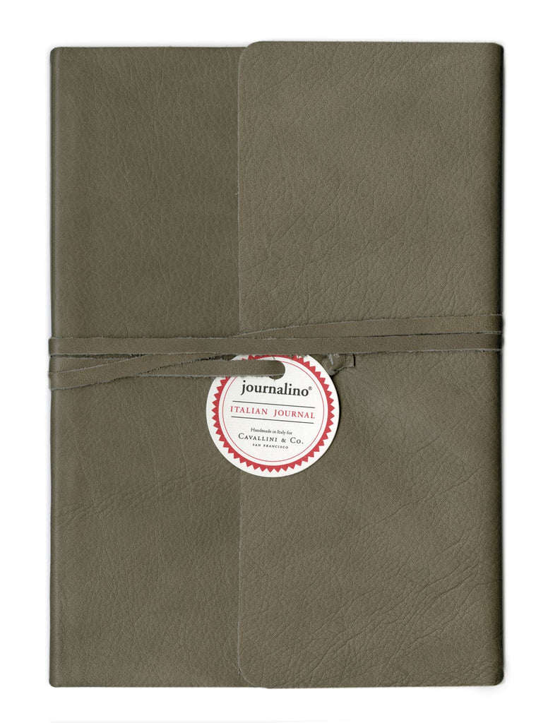 Cavallini - Slim Grey Leather Journalino - Small 5x7ins or Medium 6x8ins - 128 Lined Pages