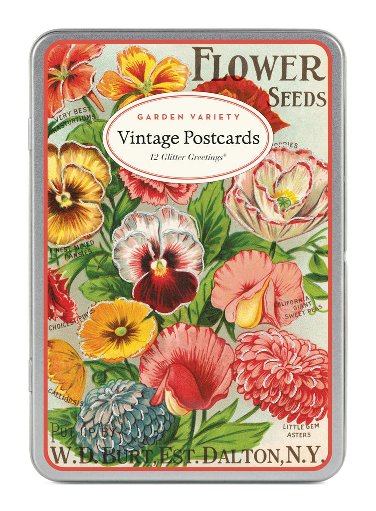 Cavallini - Glitter Greetings Carte Postale - Garden Variety - Tin of 12 Postcards - 6 Designs/2 Per Design