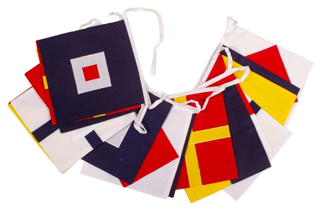 100% Cotton Bunting - Square Nautical Flags - Double Sided Pennants - 5m or 10m