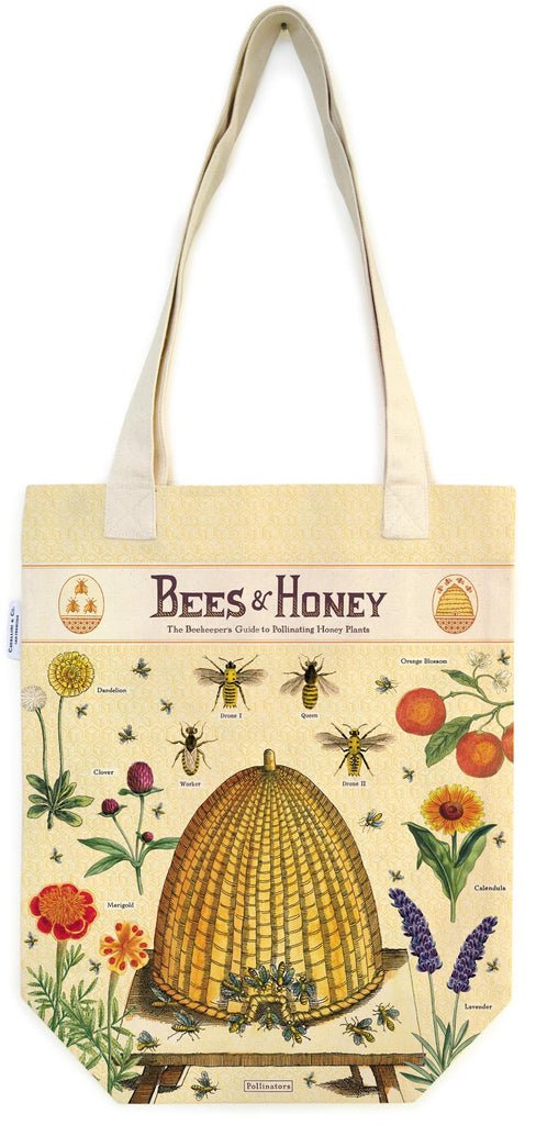 Cavallini - 100% Natural Cotton Vintage Tote Bag - 33x40.5cms - Bees & Honey