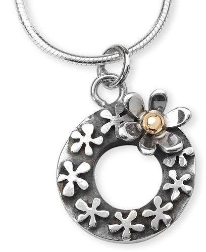 Silver & Gold Flowers in a Round Loop Necklace by Linda Macdonald