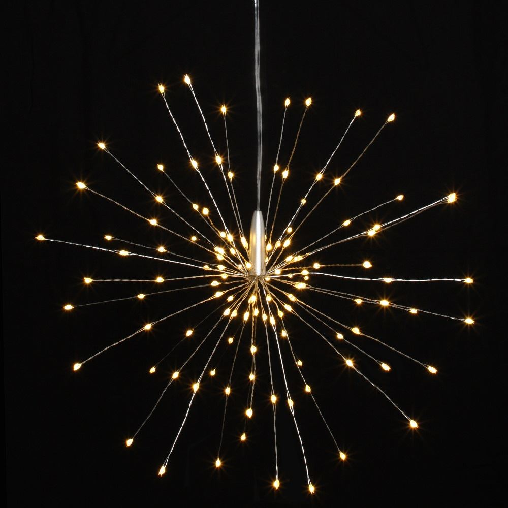 Silver Starburst - 30cms - 120 LED Indoor/Outdoor Lights w/Built In Timer - Battery Powered