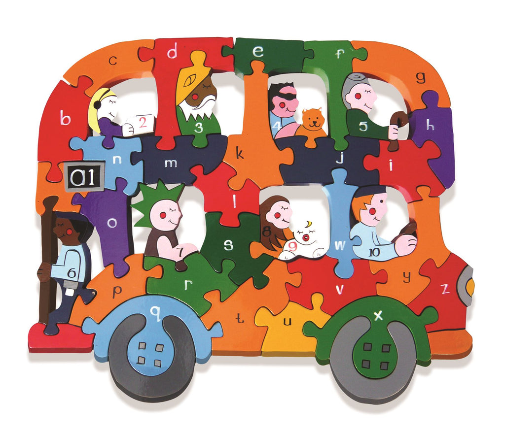 Alphabet Jigsaws - Wooden abc/Numbers Puzzle - Alphabet Bus - Chunky & Bright - 33x26cms
