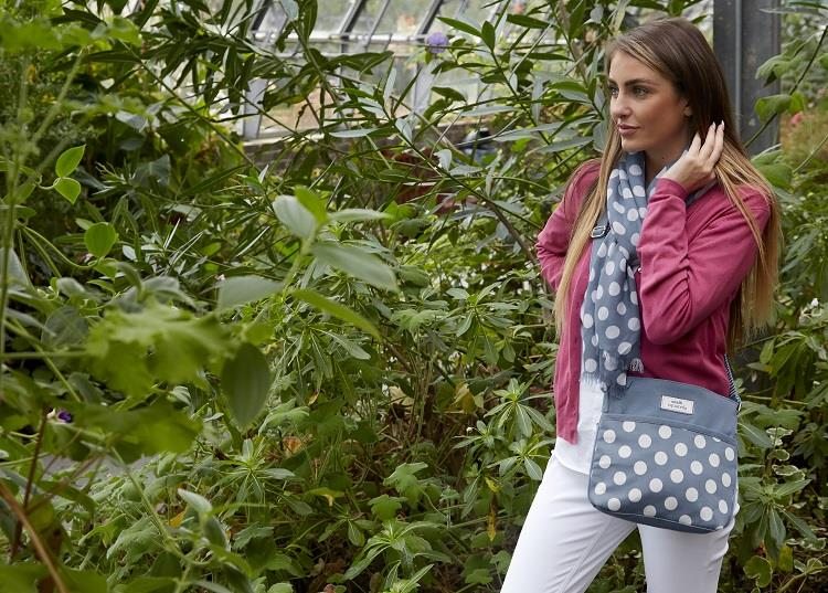 Earth Squared - Amelia - Spotty Messenger Bag - Blue With White Spots - 26x24x4cms