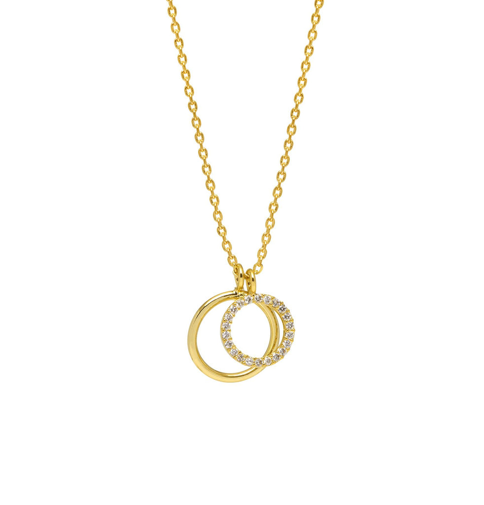 Double Circle Charm Necklace - Gold Plated - She Believed She Could So She Did - Estella Bartlett