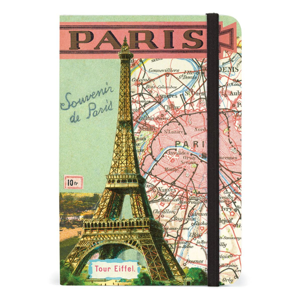 Cavallini - Small Lined Pocket Notebook 4x6ins - Vintage Paris - 256 Pages With Elastic Enclosure