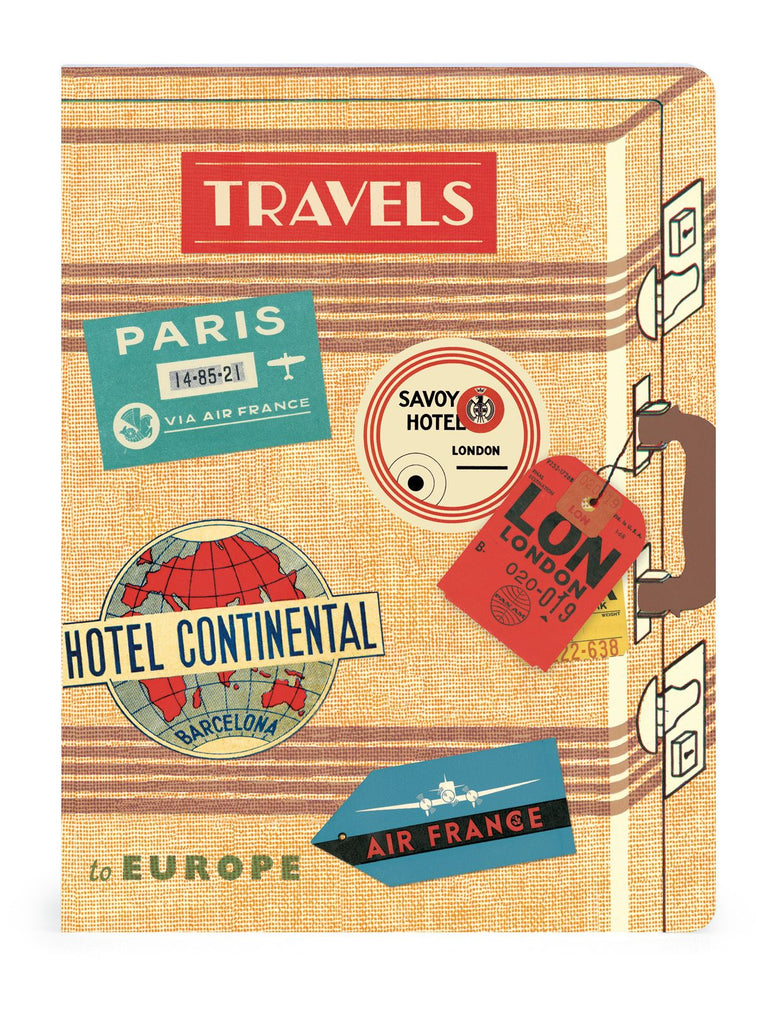 Cavallini - Set of 2 Notebooks 5.5x7.25ins - Vintage Travel - Lined & Graph - 96 Pages Per Book