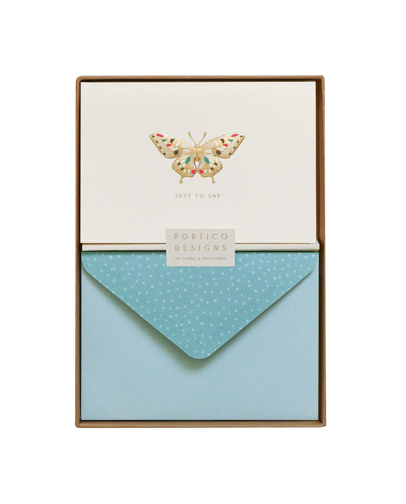 Butterfly Card Set - Just To Say - 10 Blank Note Cards & Matching Envelopes - Portico Designs