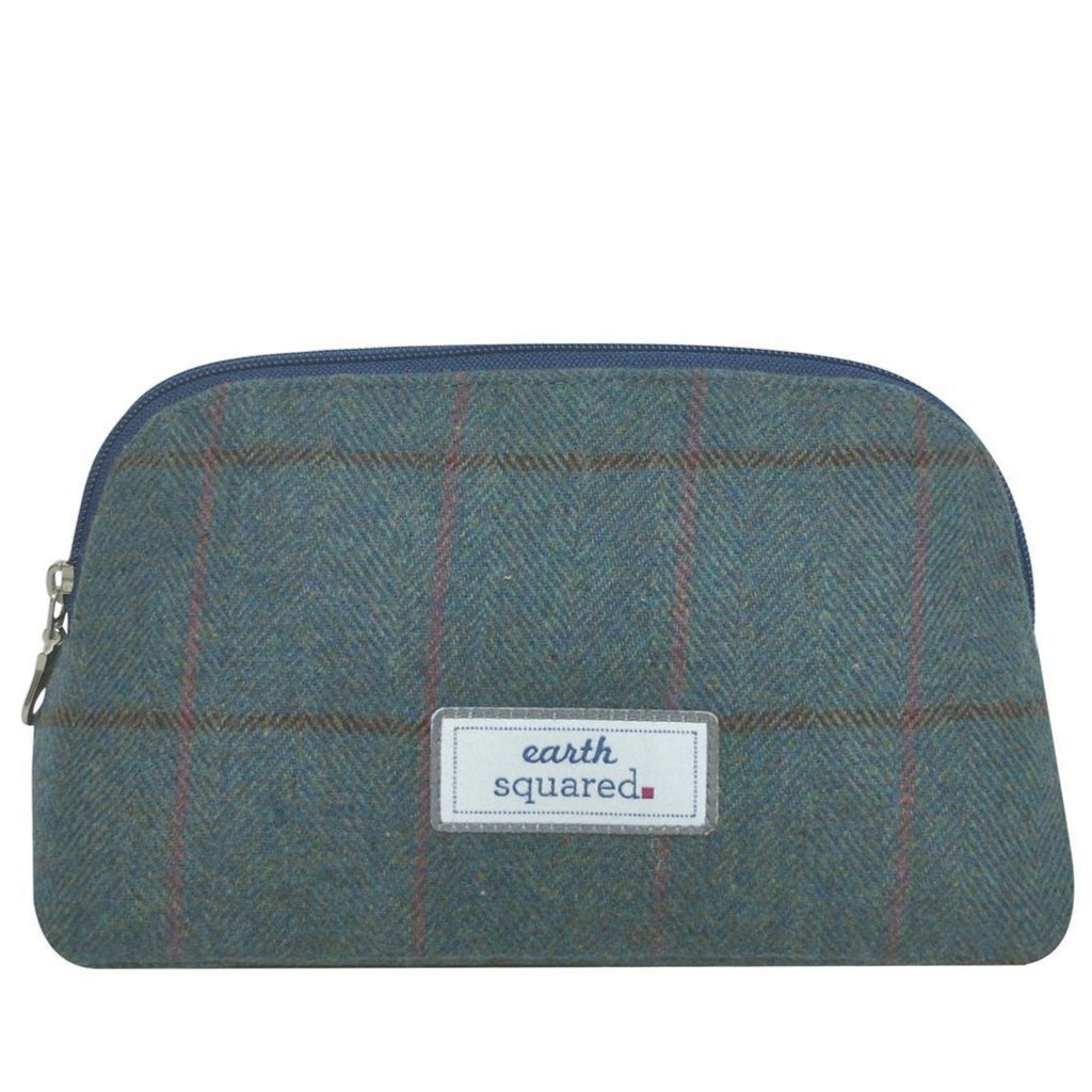 Earth Squared - Make-Up Bag - Heritage Tweed Wool - Steel Blue - 23x13x8cms