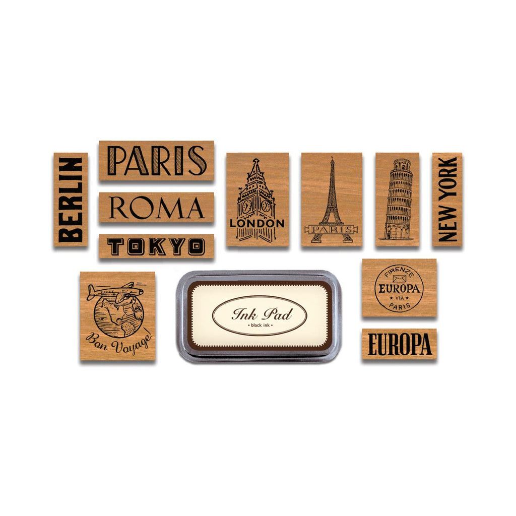 Cavallini - Tin of 11 Rubber Stamps - Destinations - Black Ink Stamp Pad Included