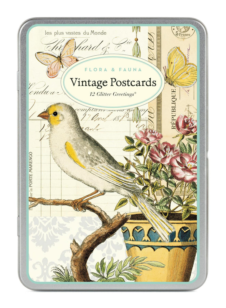 Cavallini - Glitter Greetings Carte Postale - Flora & Fauna - Tin of 12 Postcards - 6 Designs/2 Per Design