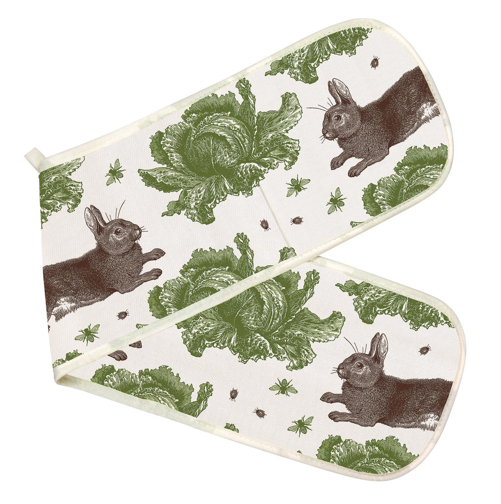 Thornback & Peel - 100% Cotton - Double Oven Glove/Mitt - Rabbit & Cabbage