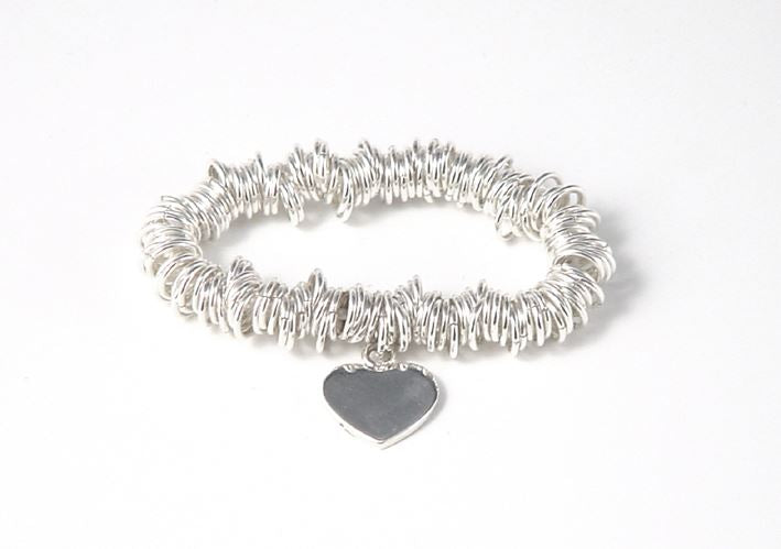 Sterling Silver Chunky Coil Sweetheart Bracelet - Tales From The Earth - Presented In Pale Blue Gift Box
