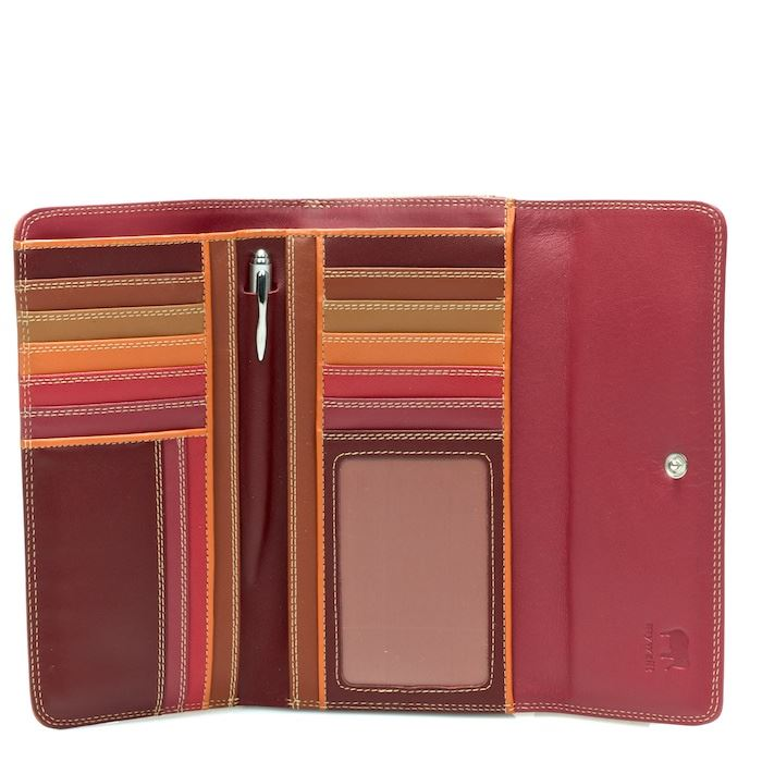Leather Tri-Fold Wallet With Outer Zip Purse 269 - MyWalit - Berry Blast