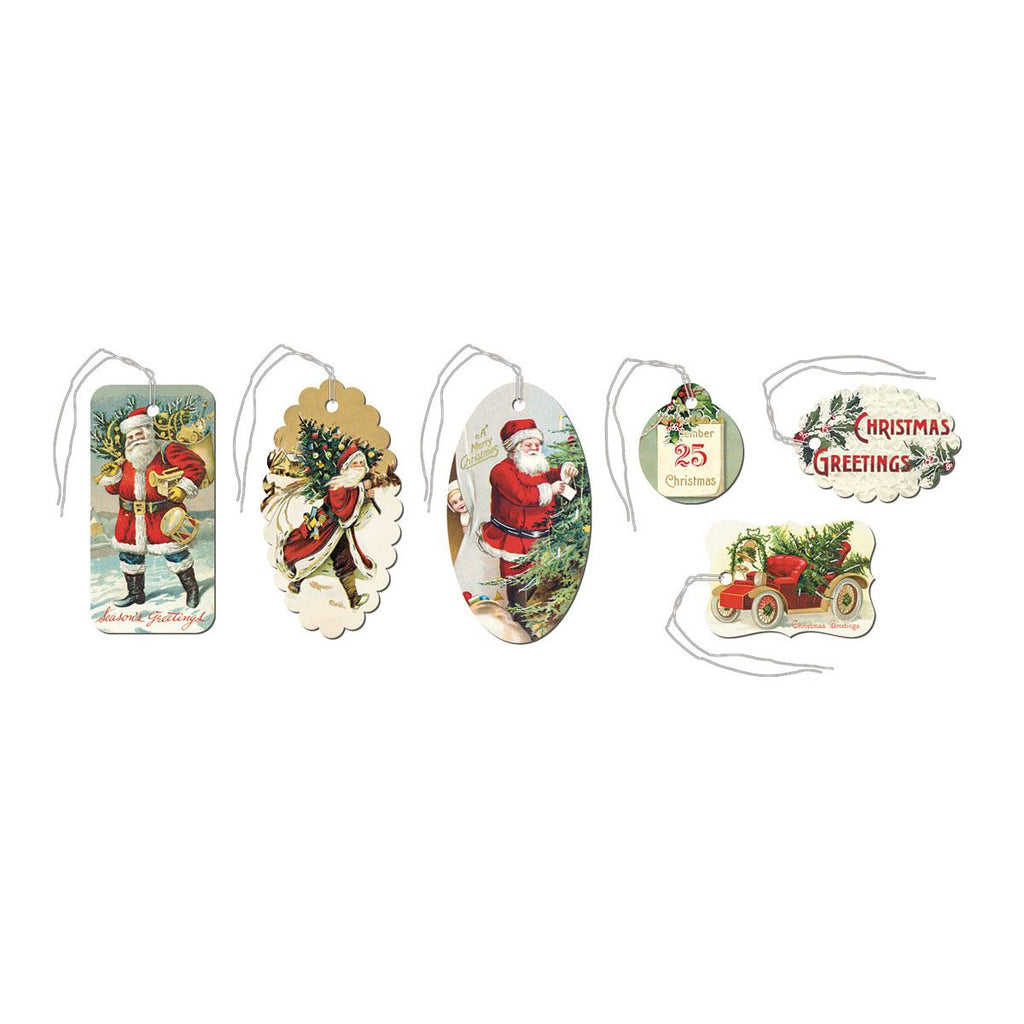 Cavallini - Tin of 36 Glittered Gift Tags - Christmas Santa (HOLCHR)