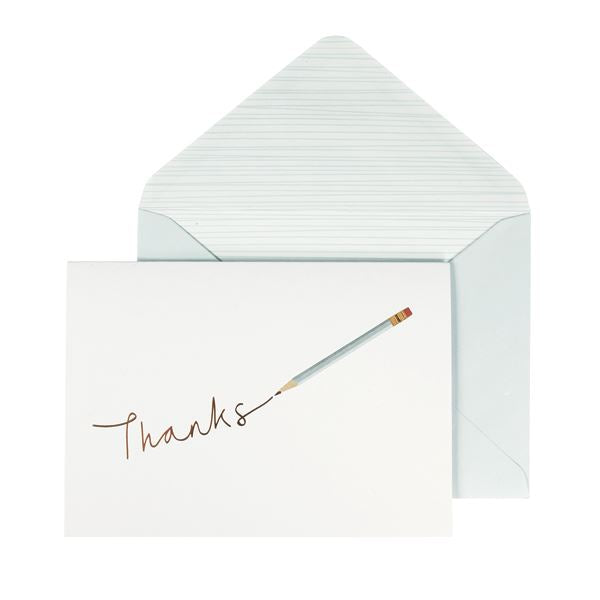Gold Thanks/Pencil Card Set - 10 Blank Note Cards & Matching Envelopes - Portico Designs