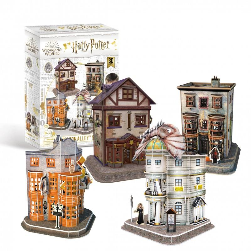 Harry Potter's Wizarding World - 4 x 3D Jigsaw Puzzles - Diagon Alley Set (4 Puzzles)
