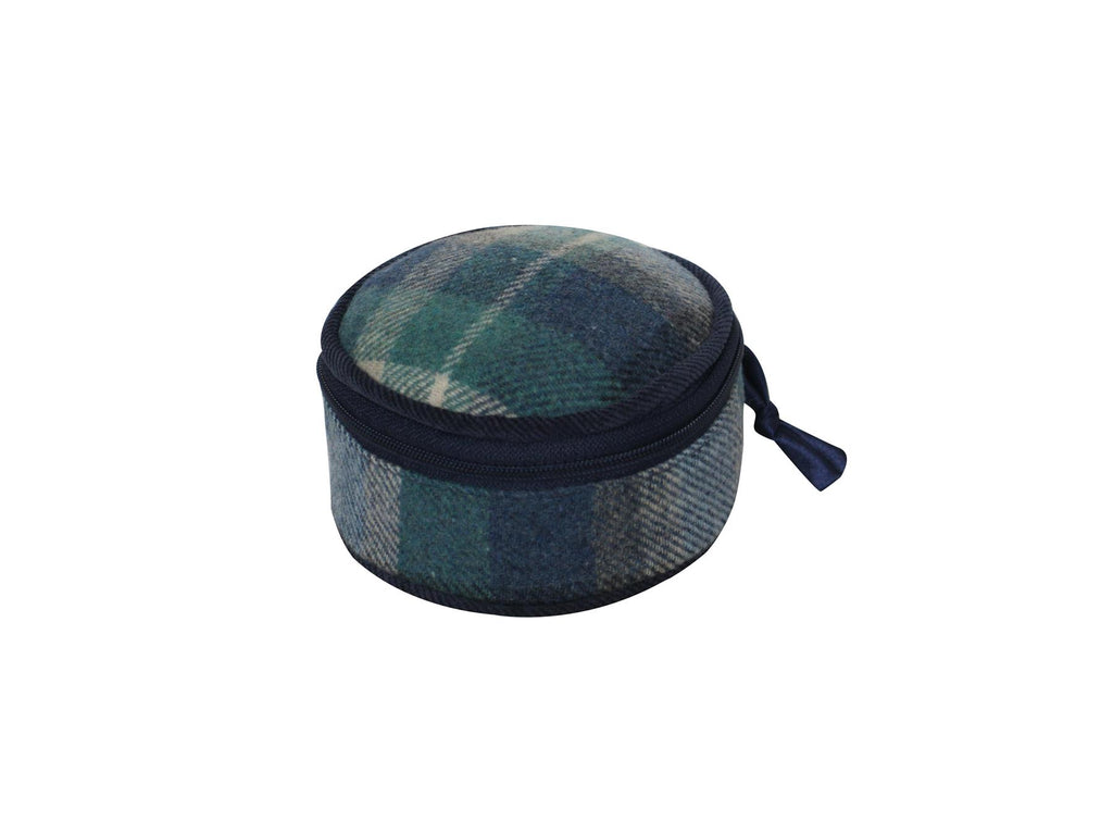 Earth Squared - Round Jewellery Pouch - Tweed Wool - Cloudburst - 10x10x5cms