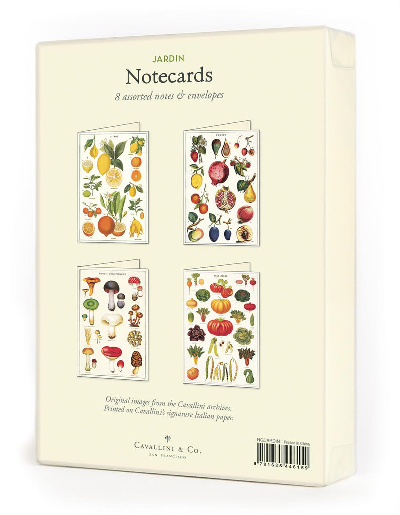 Cavallini - 8 Assorted Notecards - 4 Designs/2 Per Design - Jardin/Garden