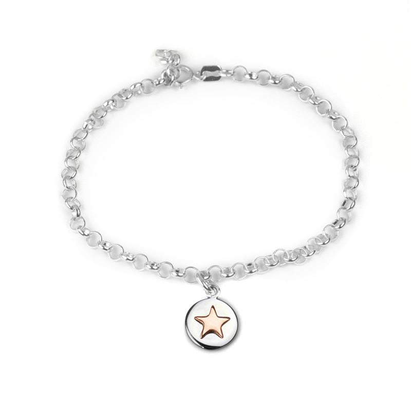 Sterling Silver - Good Luck Circle Bracelet - Rose Gold Star - Tales From The Earth