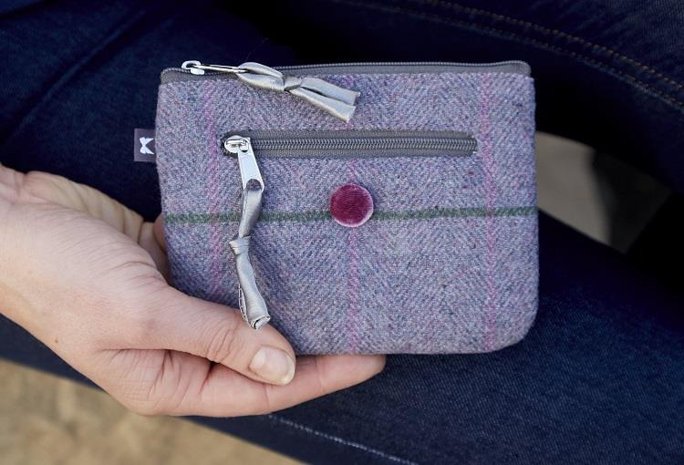 Earth Squared - Emily Purse - Heritage Tweed Wool - Iris - 14x11cms