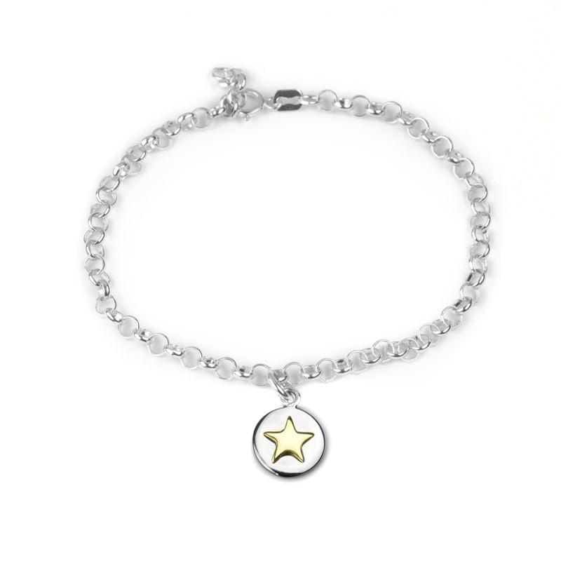 Sterling Silver - Good Luck Circle Bracelet - Gold Star - Tales From The Earth
