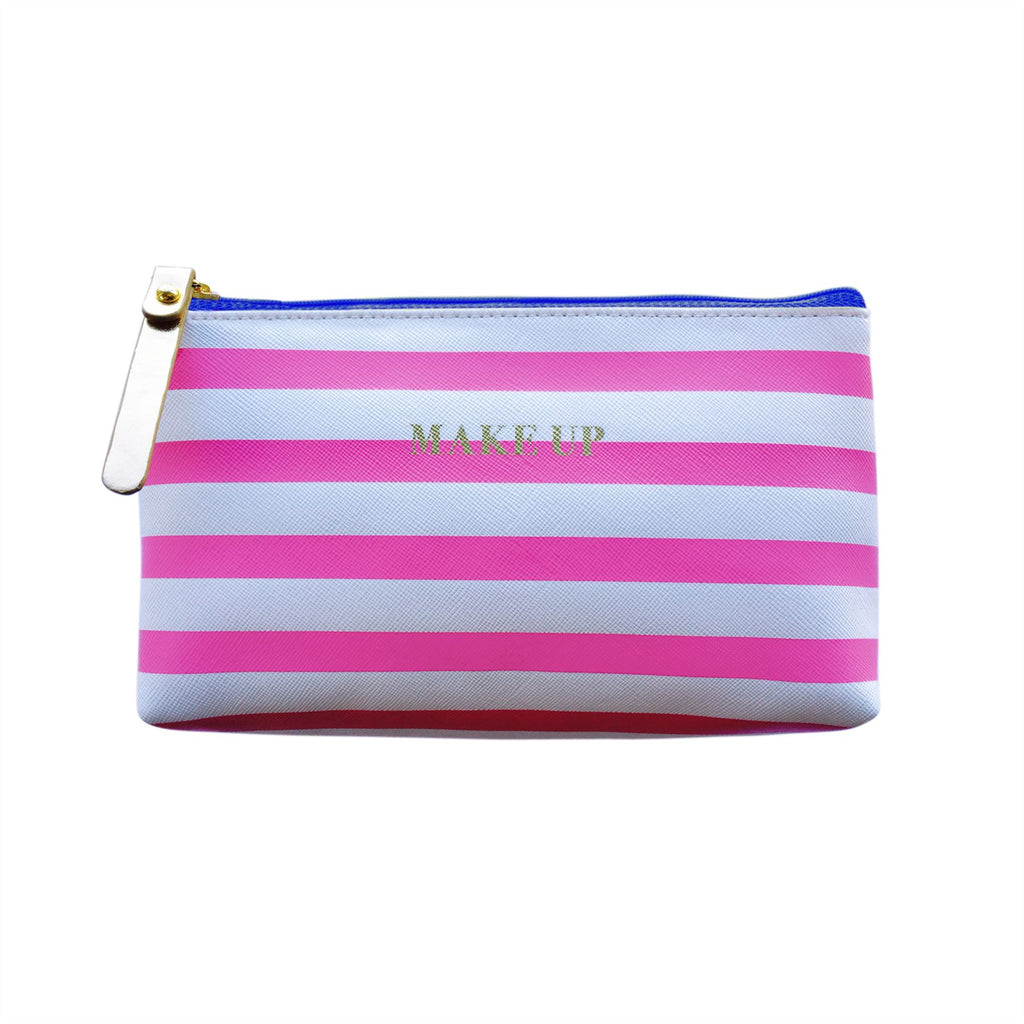Bombay Duck - All Aboard! - Make Up Stripey Faux Leather Bag - Lipstick Pink & White
