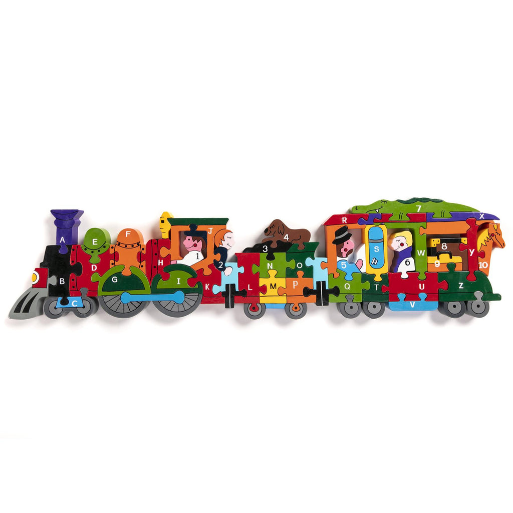 Alphabet Jigsaws - Wooden ABC/Numbers Puzzle - Alphabet Train - Chunky & Bright - 58x15cms