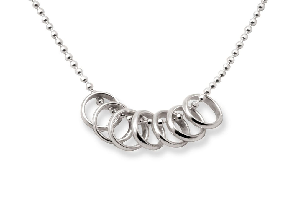 Sterling Silver Lucky Seven Rings Necklace - Tales From The Earth - Presented In Pale Blue Gift Box - Chain Length 45cm