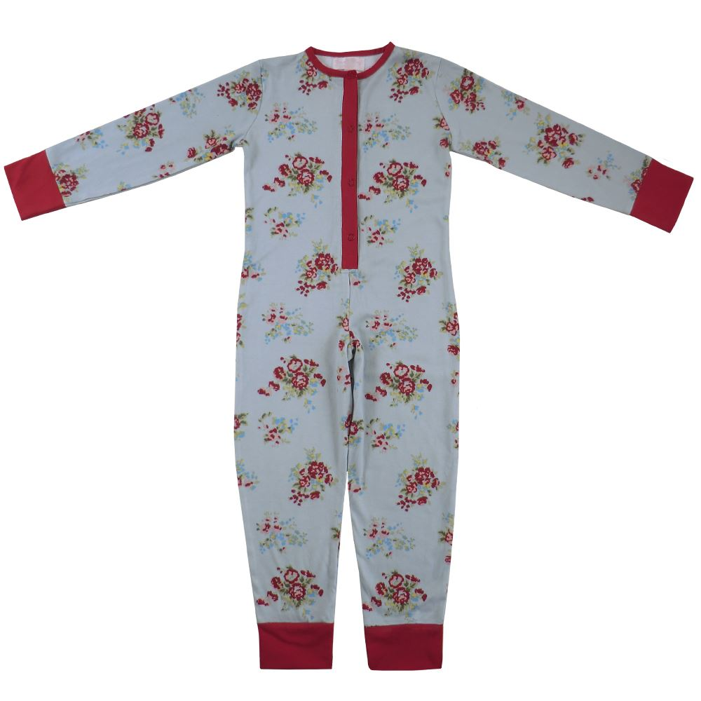 100% Cotton All-In-One/Onesie - Beautifully Soft - Blue Floral - Powell Craft - Ages 2-12